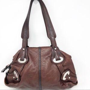 B, makowski Burgundy leather satchel
